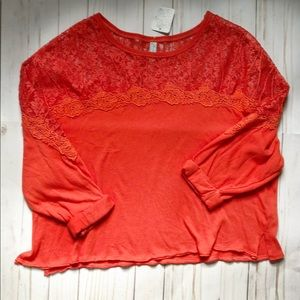 Free People orange lace shirt xs nwt